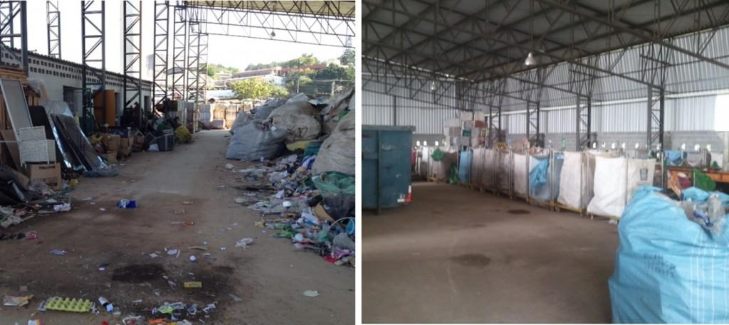 Centro de triagem de resíduos recicláveis antes e depois de receber apoio do projeto     Foto_divulgação