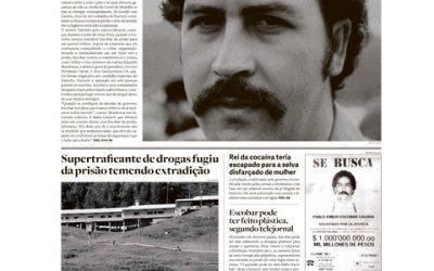 Netflix e Media Lab Estadão publicam a 'fuga de Pablo Escobar' na capa do jornal